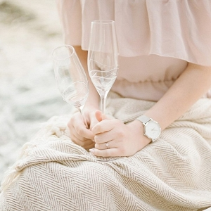 Champagne Picnic Romantic Beach Engagement Session