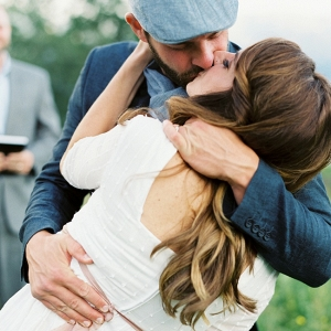 Relaxed Bride and Groom Vow Renewal First Kiss