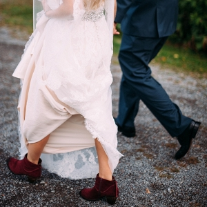 Lace Alfred Angelo Wedding Dress Red Suede Steve Madden Booties Boho Bride