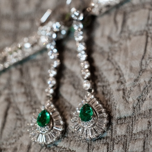 Emerald and Diamond Drop Earrings were a Striking Bridal Accessory at This Classic Emerald Winter Pittsburgh Wedding