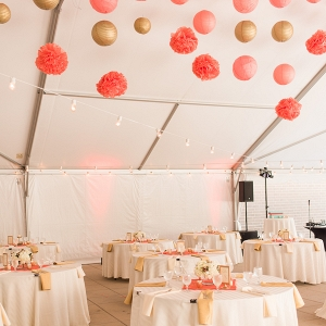 Paper Lanterns Tissue Poms Soft Uplighting Mercury Glass Metallic Accents Tent Coral Gold Terrace Wedding