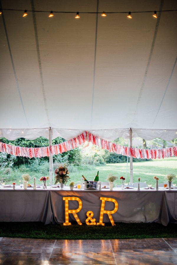 Marquee Letters Ribbon Garland Floral Centerpieces Sparkly Details Festive DIY Backyard Wedding