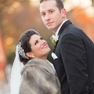 This Bride Looked Ravishing in Her Ballgown Wedding Dress and Faux Fur Wrap at Her Glamourous Winter Wedding