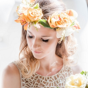Beaded Hayley Paige Wedding Dress Asymmetrical Floral Crown Perfect Bridal Accessories Modern Geometric Styled Shoot