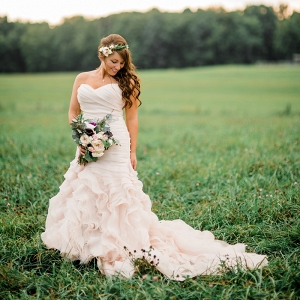 With a Blush Wedding Dress and Greenery Floral Crown, This Bride Looks Like a Farm Chic Grecian Goddess at Her Pumpkin Inspired Fall Farm Wedding