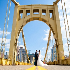 Bright Blue Sky White Puffy Clouds Iconic Bridge Happy Bride Groom Photo Romantic Totally Fun Pittsburgh Wedding