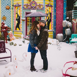 Kisses Snow Bride Groom Snowy Colorful Engagement Session