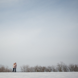 A Gray Sky has Never Looked Better Than in This Snowy Field Engagement Session
