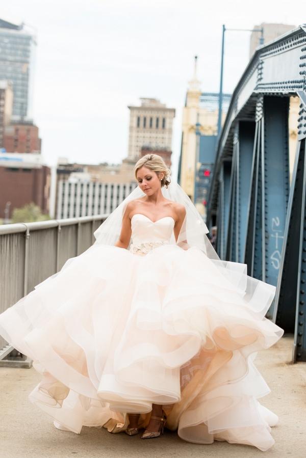 Bride Peach Lazaro Ballgown Wedding Dress Sweetheart Neckline Beaded Belt