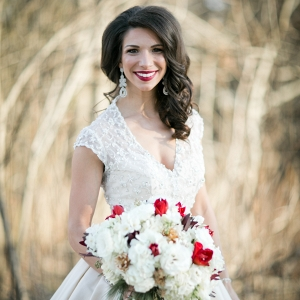 Bride Stunning Beaded Hayley Paige Wedding Dress Statement Earrings Red White Bouquet Sparkly Christmas Wedding