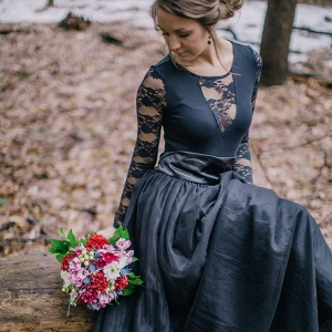 A Long Black Lace Dress was the Perfect Attire for this Twisted Fairy Tale Engagement Session