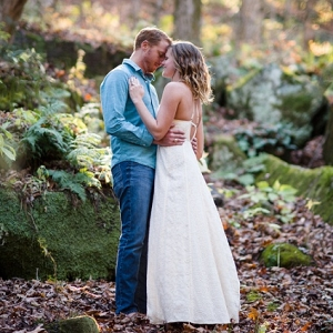 Moss Covered Rocks Trees Glowing Sunset Woodsy Engagement Session
