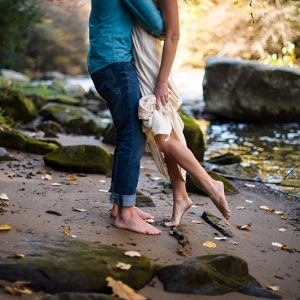 Bride to Be Fiance Toes Sand Stream Woodsy Engagement Session