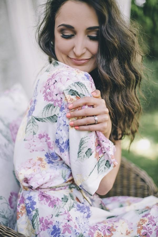 Floral Print Bridesmaids' Robe