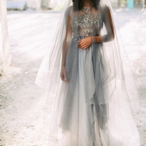Grey Wedding Dress with Drop Veil