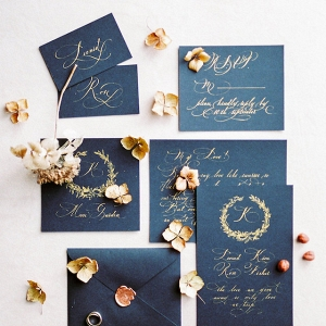 Black Wedding Invite with Gold Calligraphy