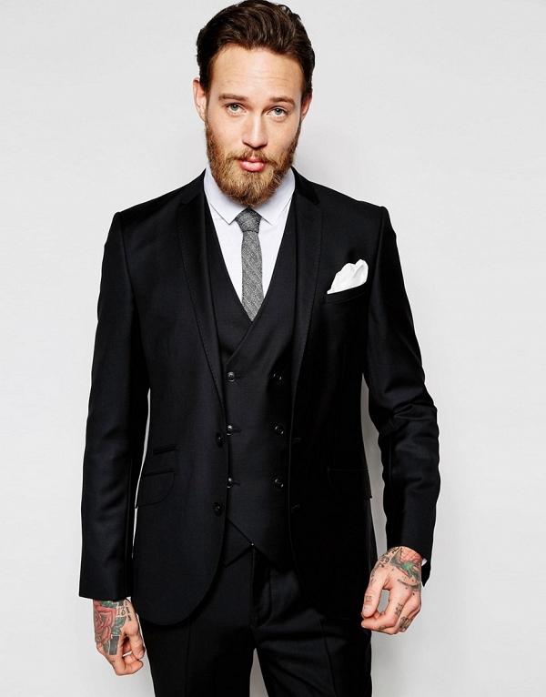100% Wool Black Slim Fit 3 Piece Suit