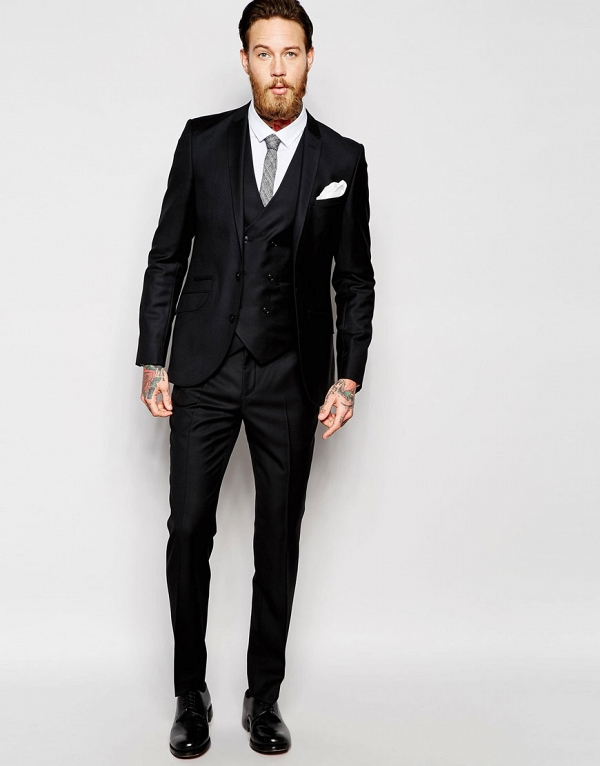 100% Wool Black Slim Fit 3 Piece Suit