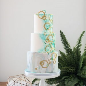 Geometric & Water color Marble Wedding Cake
