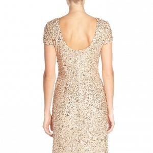 Adrianna Papell Short Sleeve Sequin Bridesmaid Dress