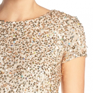 Adrianna Papell Short Sleeve Sequin Mesh Gown