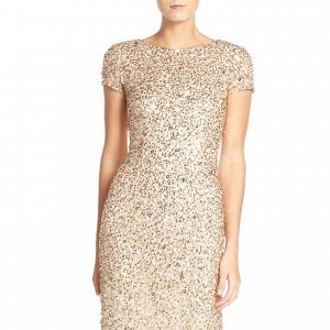 Adrianna Papell Short Sleeve Sequin Dress