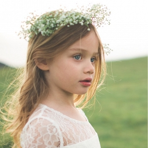 'Annie' Floral Appliqué Lace Flower Girl Dress