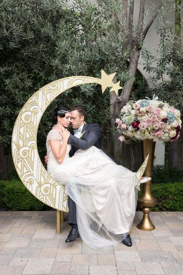 Art Deco moon backdrop on Chic Vintage Brides