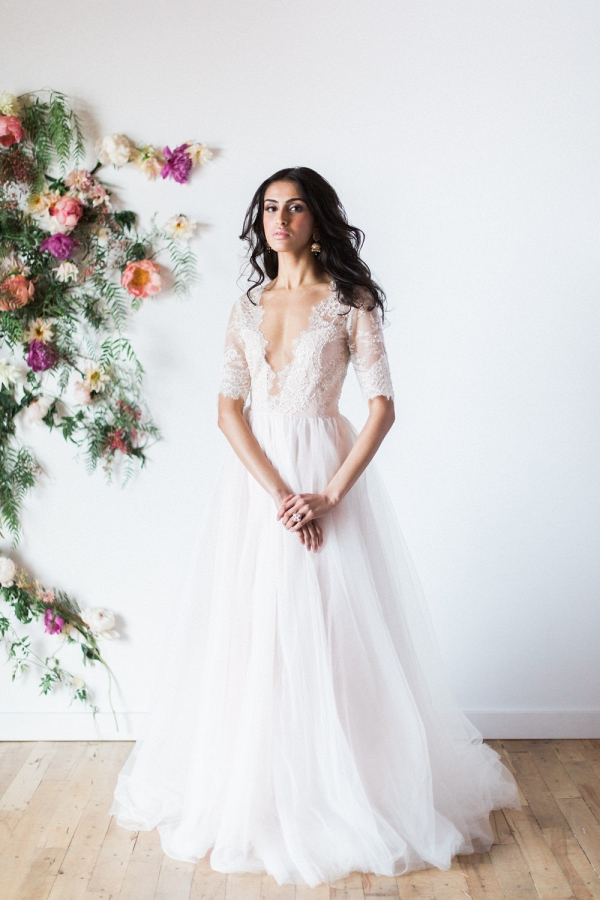'Azalea' Blush Long Sleeve Wedding Dress