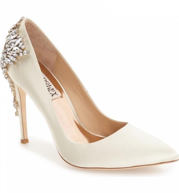 Badgley Mischka 'Gorgeous' Crystal Embellished Pointy Toe Bridal Pump