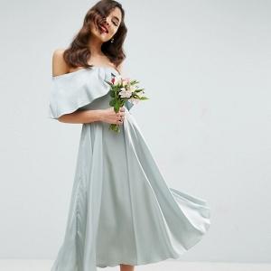 Bardot Fold Midi Bridesmaid Dress