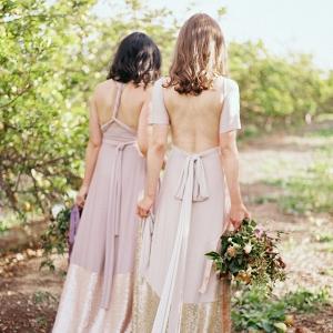 Bella Luna Sequin Dipped Wrap Bridesmaid Dress