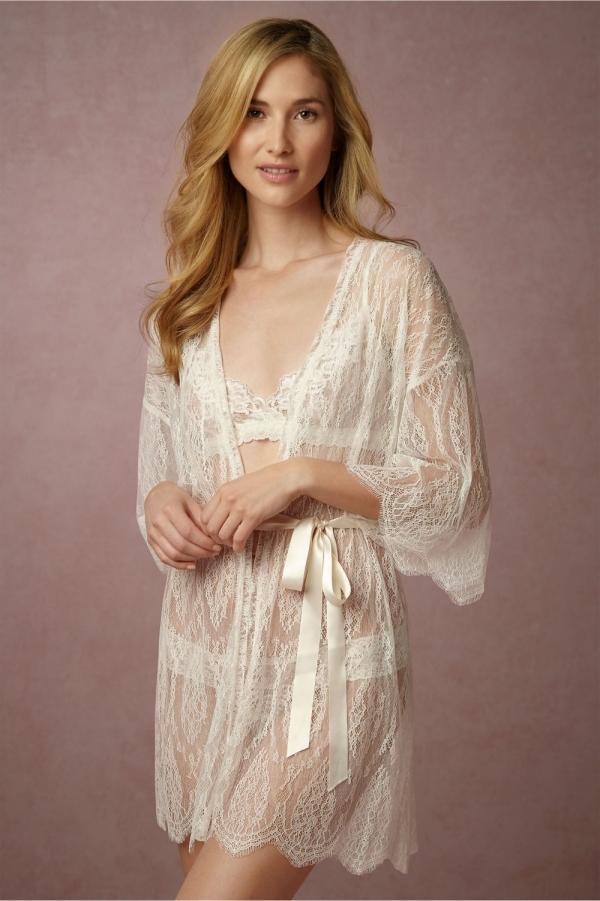 Bhldn Leandra Lace Bridal Robe Aisle Society