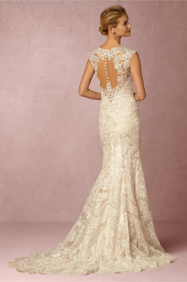 Bhldn 39 shea 39 lace bridal gown aisle society for Simple vintage wedding dresses