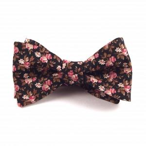 Black, Pink & Gold-Brown Floral Bowtie