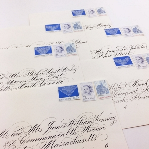 Set of Blue Grace Kelly Vintage Stamps