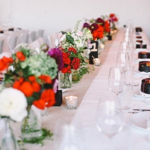 Simple Tablescape with Red Floral Centrepieces