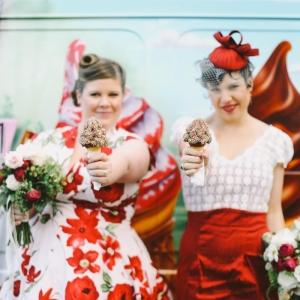 Vintage inspired bride & bridesmaid with icecreams