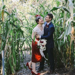 Vintage Inspired Bride in Red and Groom