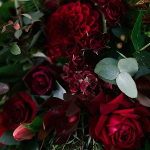 Deep Red Blooms for a Fall Bridal Bouquet