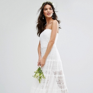Boho Tiered Lace Wedding Dress