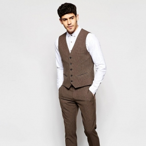 Brown Houndstooth 3 Piece Groom's Suit Waistcoat