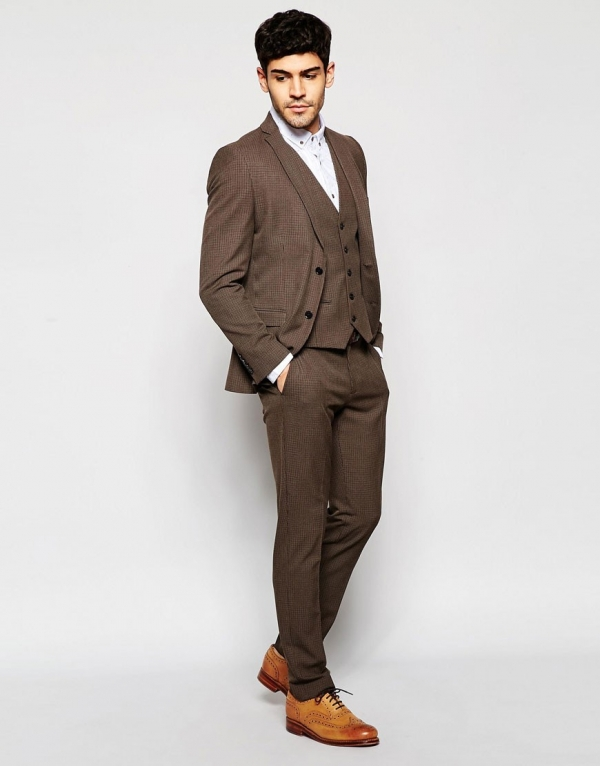 Brown Houndstooth Skinny 3 Piece Suit - Aisle Society