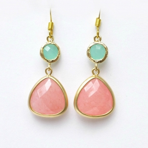 Coral & Mint Drop Bridesmaid Earrings