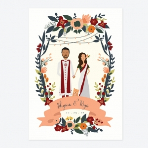 Indian Palace Custom Illustration DIY Wedding Invite