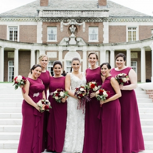 Elegant Bride & Bridesmaids in Full Length Gowns