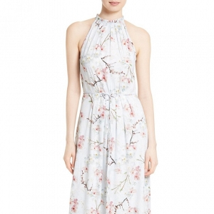 'Elynor' Blossom Print Maxi Bridesmaid Dress