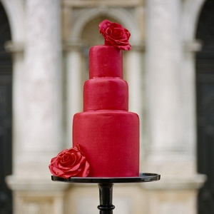 Stunning 3 Tier Red Wedding Cake