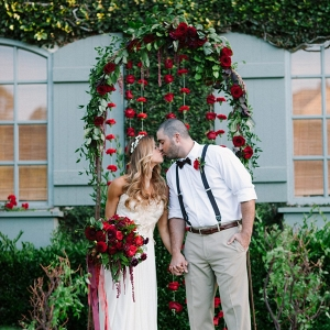 Floral Aisle Arch & Rose Backdrop