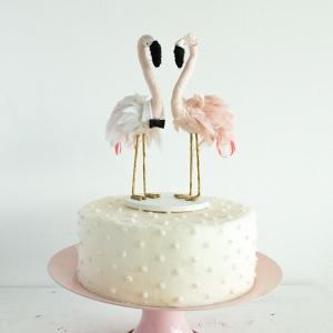 Handmade Flamingo Wedding Cake Topper